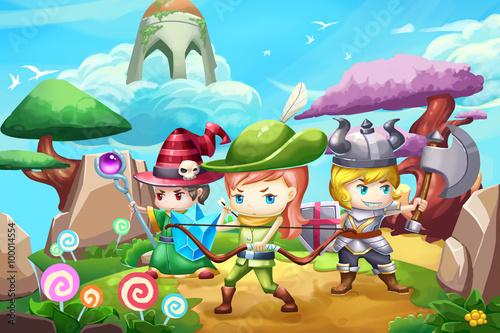 Foto op Plexiglas Zeemeermin Illustration: Fantastic Land With Three Little Heros. Realistic Fantastic Cartoon Style Artwork Scene, Wallpaper, Game Story Background, Card Design