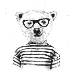 Naklejka Hand drawn Illustration of dressed up hipster bear
