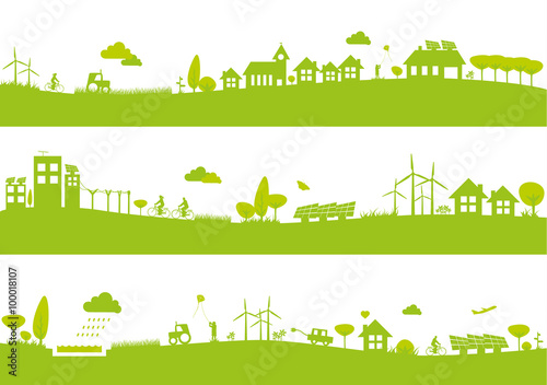 Bannières ville et campagne / Écologie Slika na platnu