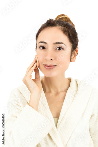 Obraz na plátně  Woman doing make up