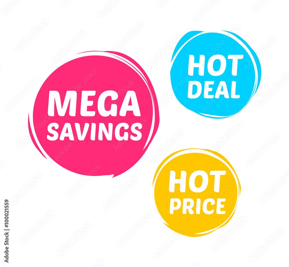 Fototapety, obrazy: Mega Savings, Hot Deal & Hot Price Marks