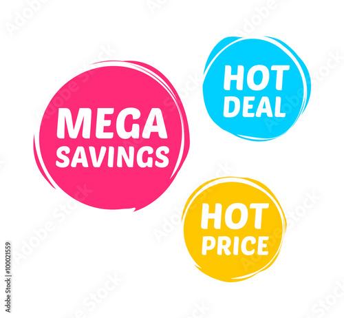 Fotografía  Mega Savings, Hot Deal & Hot Price Marks