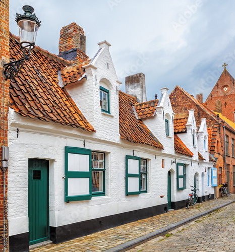 Photo sur Aluminium Bruges Bruges historical pitched roofs and spiers