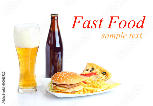 fast food set big hamburger and french fries Beer isolated white background  © strelov