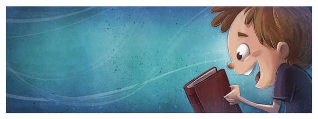 niño feliz con libro