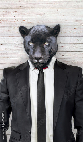 Tuinposter Panter Black panther in suit, business concept