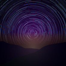Night Sky With Star Trails. Ve...