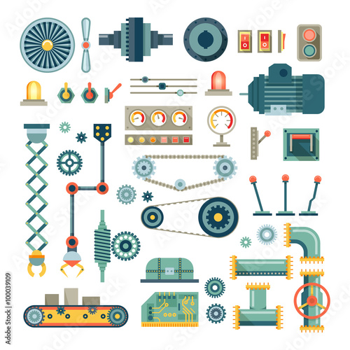 Parts of machinery and robot flat icons set.  Mechanical equipment for industry, technical engine mechanic, pipe and valve, absorber and  button, vector illustration Wall mural