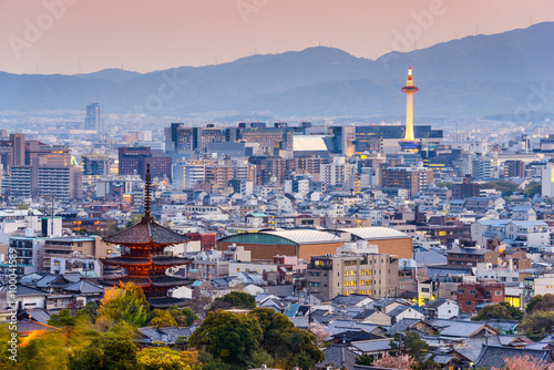 Canvas Prints Kyoto Kyoto, Japan skyline at dusk.