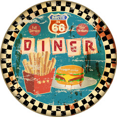 Fototapeta Do steakhouse retro american route 66 diner sign, vector Illustration, fictional artwork