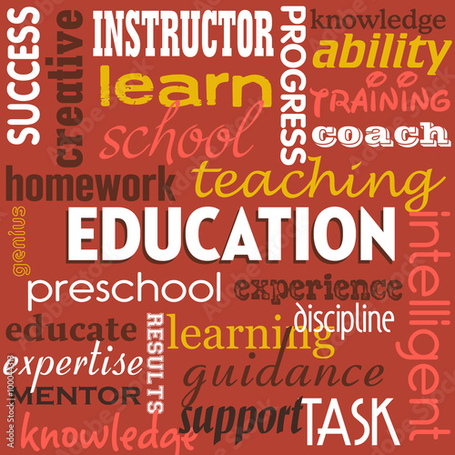 abstract colorful background with the word education written with