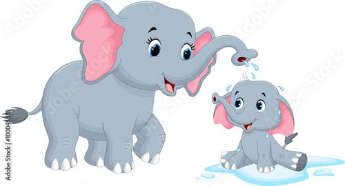 wektorowa-ilustracja-macierzysti-slonie-kapac-sie-jej-dziecka