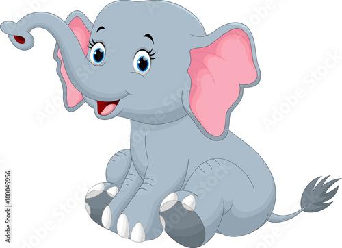 Foto op Aluminium Zoo Cute elephant cartoon sitting