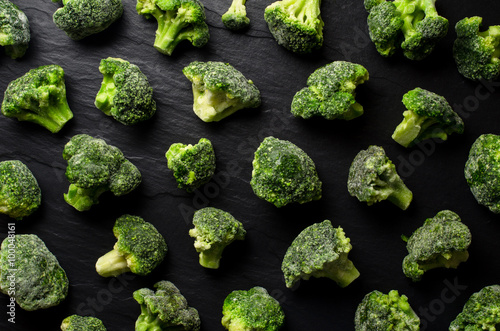 Frozen broccoli background