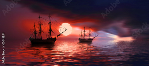 Fotobehang Rood Sailboat against beautiful sunset