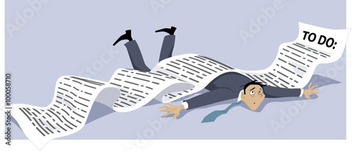 Fotografie, Obraz  Businessman knocked down by a endless to-do list, EPS 8 vector illustration, no
