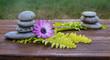 piedras redondas y flores