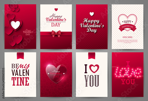 Valentine cards set. Vector illustration. Poster Mural XXL