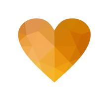 Orange Heart Isolated On White Background.