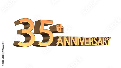 Thirty Fifth 35 Anniversary Symbol In Gold Letters Isolated On