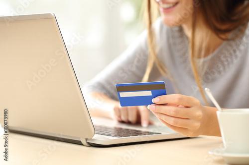 Cuadros en Lienzo Mujer que compra en línea con tarjeta de crédito
