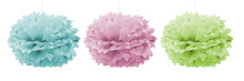 Green, Blue And Pink Paper Pom Poms For A Party
