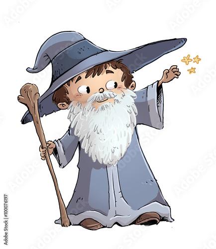 niño con disfraz de mago Fototapet