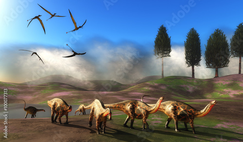 Dicraeosaurus Dinosaur Meadow - A flock of Rhamphorhynchus pterosaurs fly over a herd of Dicraeosaurus dinosaurs leaving a watering hole Wallpaper Mural