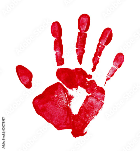 Red Hand Print Canvas-taulu