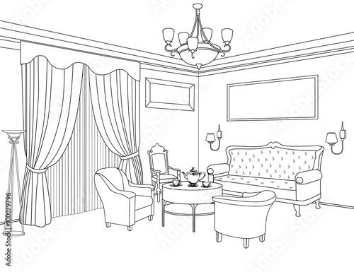 Interior Outline Sketch Furniture Home Interior With