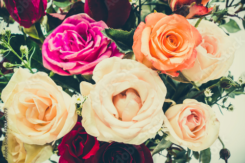 Aluminium Prints Dahlia Close up Vase of Roses bouquet, Beautiful flower