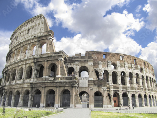 Fotobehang Rome Colosseum in Rome with blue sky with clouds