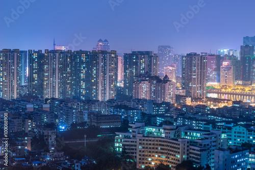 Poster Tokyo dense buildings night view