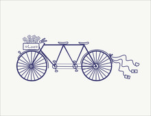 Wedding Vintage Tandem Bicycle Vector Icon Llustration Isolated