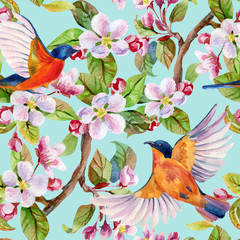 Obraz na Szkle Apple blossom and flying birds.