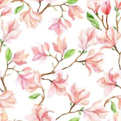 Fototapetawatercolor magnolia branches