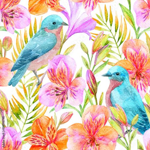 Cotton fabric Watercolor Alstroemeria flowers seamless pattern.