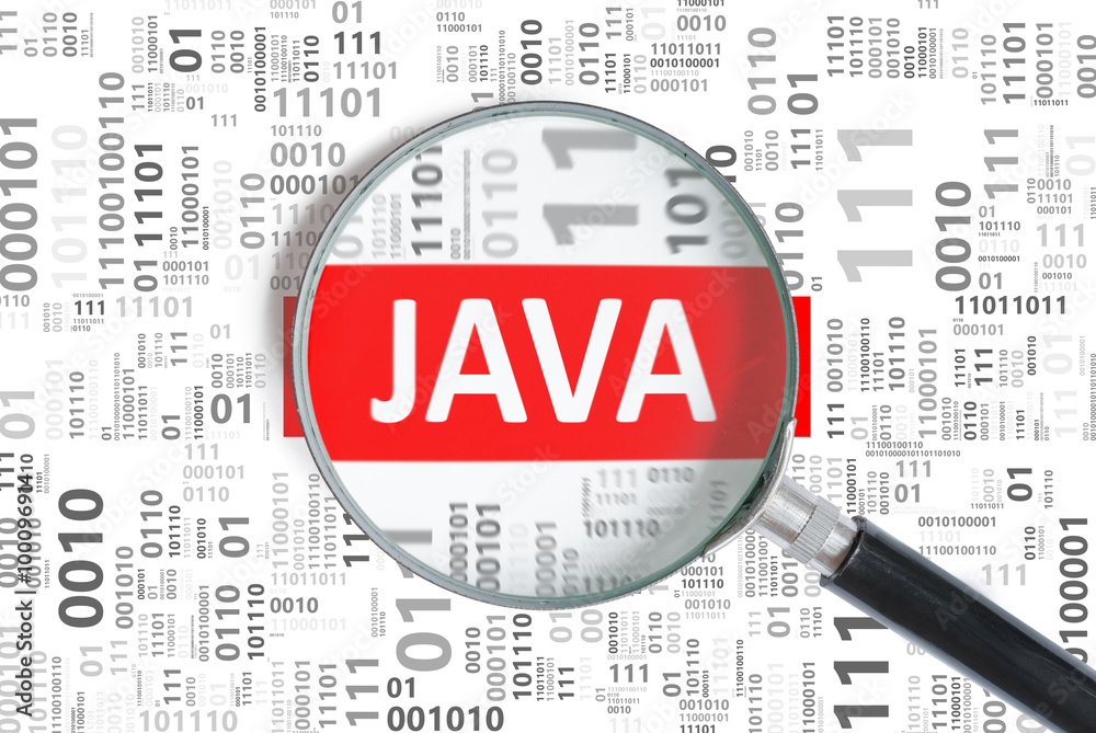 Fototapety, obrazy: Software development concept. Java programming language inside magnifying glass in binary code.