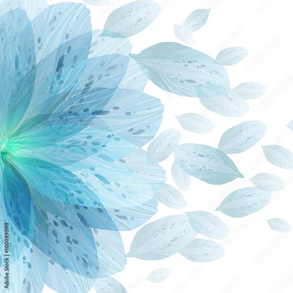 Floral round pattern of blue flower petals