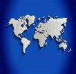 World map blue line 3D vector