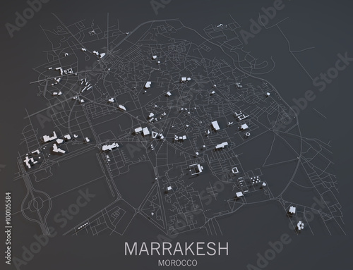 Obraz na plátně Cartina Marrakesh, vista satellitare, Marocco