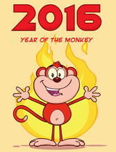 Happy Red Monkey Character Wel...