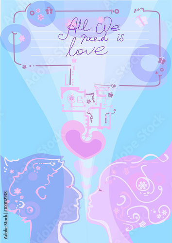 Fotografie, Obraz  romantic card in bionic style with blue and pink colors, silhouettes of faсes