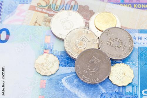 Stack Of Hong Kong Dollar Coin On Bank Note