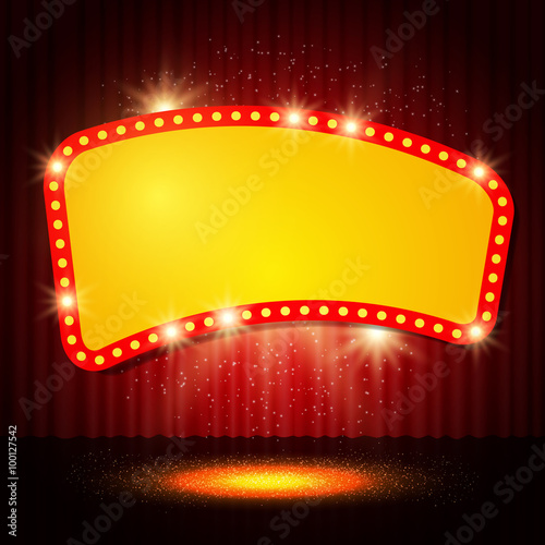 Shining retro casino banner on stage curtain Fototapet