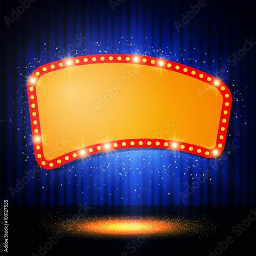 Tablou Canvas Shining retro casino banner on stage curtain