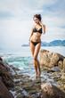 Seascape with beautiful sexy model posing in bikini