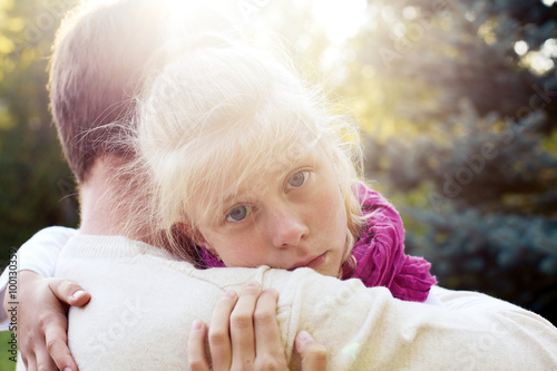 Daddy Reassured His Daughterlittle Girl Resting On Her Fathers