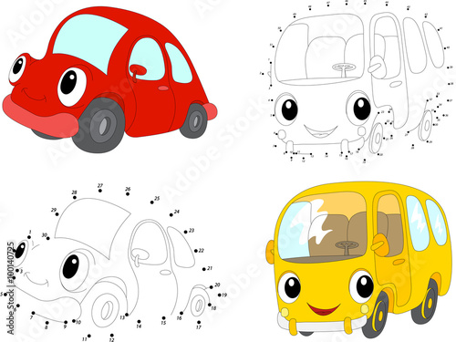 Staande foto Cartoon cars Cartoon red car and yellow bus. Vector illustration. Dot to dot