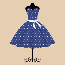 Mannequin And Retro Blue Dress